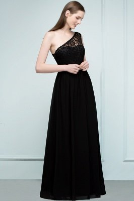SYBIL | A-line One-shoulder Long  Lace Chiffon Bridesmaid Dresses with Sash_4