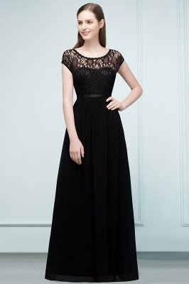 REESE | A-line Floor Length Short Sleeves Lace Bridesmaid Dresses with Sash_1