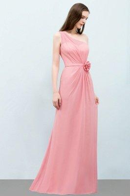 Mermaid Floor Length One-shoulder Ruffled Chiffon Bridesmaid Dresses with Flower_7