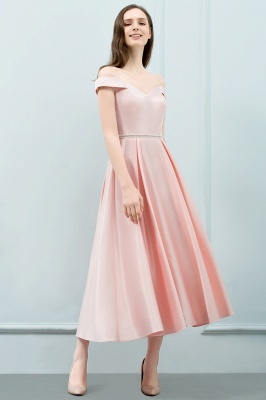 Cheap A-line Off-shoulder Tea Length Pink Prom Dress with Sash in Stock_2