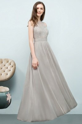 A-line  Lace Jewel Sleeveless Floor-Length Bridesmaid Dresses_3