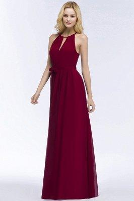A-line Halter Floor Length Burgundy Bridesmaid Dress with Bow Sash_11