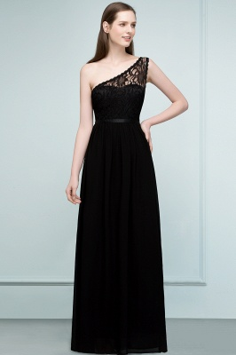 SYBIL | A-line One-shoulder Long  Lace Chiffon Bridesmaid Dresses with Sash_1
