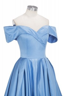 Sexy Sky Blue Prom Dresses Off-the-Shoulder Side Slit Gorgeous Evening Gowns_10