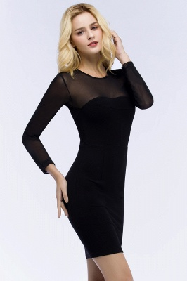 Jewel Long Sleeves Sheer Sexy Bodycon Black Short Party Dresses_4