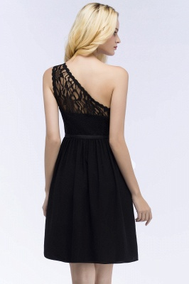 ROSA   A-line Short One-shoulder Lace Top Chiffon Homecoming Dresses with Sash_6
