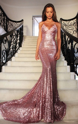 Spaghettis-Straps Rose Pink Sequins Prom Dresses   Sparkly Long Mermaid Formal Dress_2