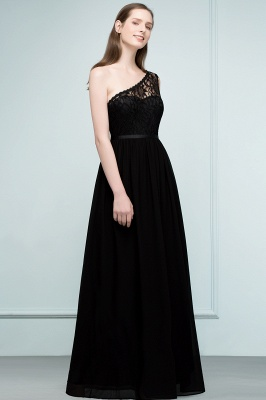 SYBIL | A-line One-shoulder Long  Lace Chiffon Bridesmaid Dresses with Sash_6