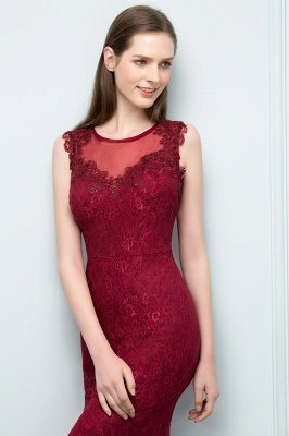 Mermaid Floor Length Sleeveless Lace Burgundy Prom Dresses_8