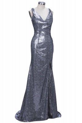 Glamorous Mermaid Sequins Sleeveless 2019 V-Neck Prom Dress_1