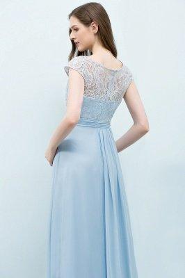 A-line Long Cap Sleeves Lace Top Chiffon Bridesmaid Dress_12
