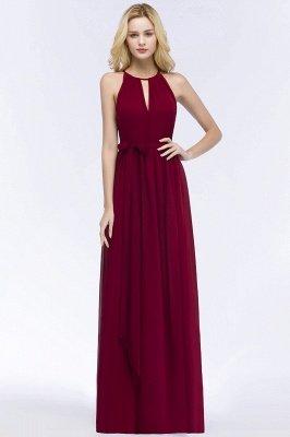 A-line Halter Floor Length Burgundy Bridesmaid Dress with Bow Sash_9