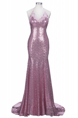 Spaghettis-Straps Rose Pink Sequins Prom Dresses | Sparkly Long Mermaid Formal Dress_1