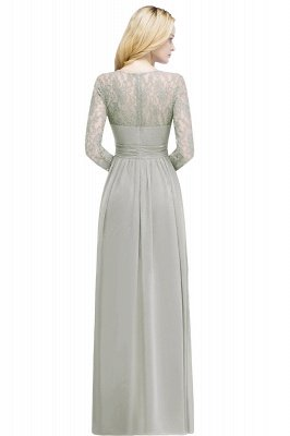 Cheap A-line Floor Length Long Sleeves Lace Chiffon Bridesmaid Dress in Stock_2