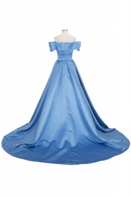 Sexy Sky Blue Prom Dresses Off-the-Shoulder Side Slit Gorgeous Evening Gowns_6