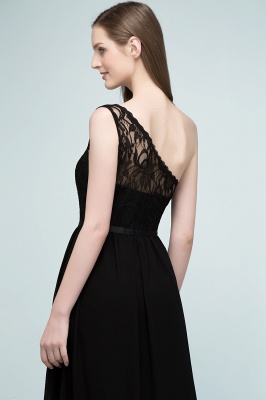 SYBIL | A-line One-shoulder Long  Lace Chiffon Bridesmaid Dresses with Sash_7