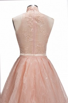 Illusion Unique Lace Sheath Puffy Sleeveless Popular High-Neck Overskirt Prom Dress_7