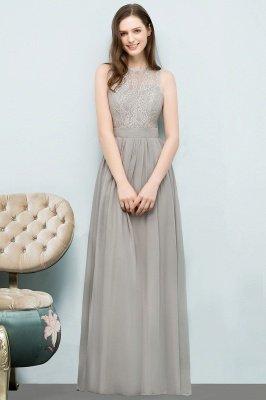 A-line  Lace Jewel Sleeveless Floor-Length Bridesmaid Dresses_1