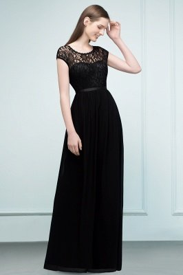 REESE | A-line Floor Length Short Sleeves Lace Bridesmaid Dresses with Sash_7