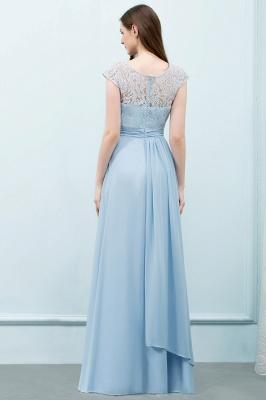 A-line  Lace Scoop Cap Sleeves Floor-Length Bridesmaid Dresses_2