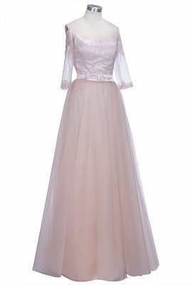 A-line Half-Sleeves Off-the-shoulder Tulle Glamorous Lace Prom Dresses_1