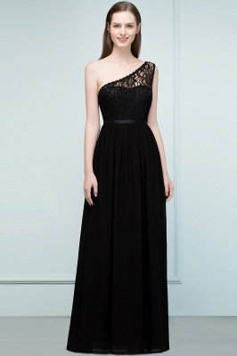 SYBIL | A-line One-shoulder Long  Lace Chiffon Bridesmaid Dresses with Sash_5