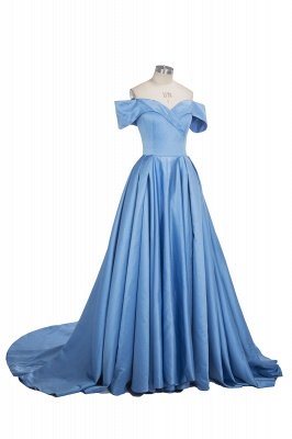 Sexy Sky Blue Prom Dresses Off-the-Shoulder Side Slit Gorgeous Evening Gowns_8