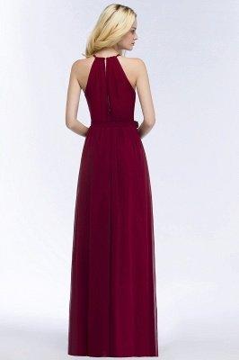 A-line Halter Floor Length Burgundy Bridesmaid Dress with Bow Sash_10