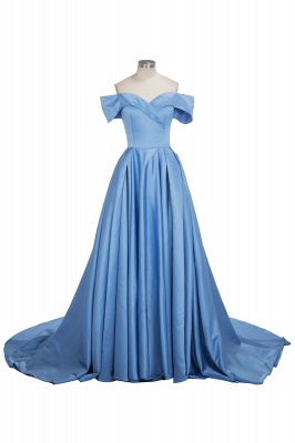 Sexy Sky Blue Prom Dresses Off-the-Shoulder Side Slit Gorgeous Evening Gowns_1