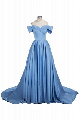 Sexy Sky Blue Prom Dresses Off-the-Shoulder Side Slit Gorgeous Evening Gowns_5