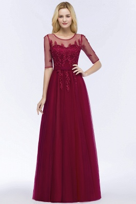 Cheap A-line Floor Length Appliques Tulle Bridesmaid Dress with Sleeves in Stock_9