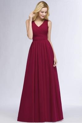 A-line  V-Neck Sleeveless Ruffles Floor-length Bridesmaid Dress_3