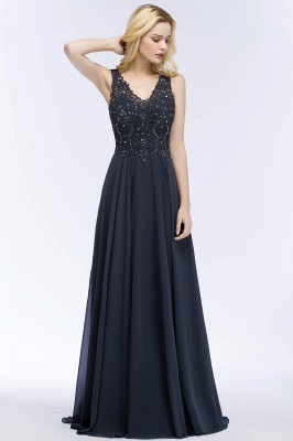 Cheap A-line V-neck Sleeveless Long Appliqued Chiffon Prom Dress with Crystals in Stock_7