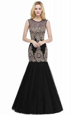 Mermaid Sleeveless Sheer Neckline Appliqued Burgundy Tulle Prom Dresses_2