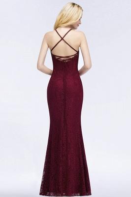 Mermaid Floor Length  Halter Lace Burgundy Bridesmaid Dresses_2