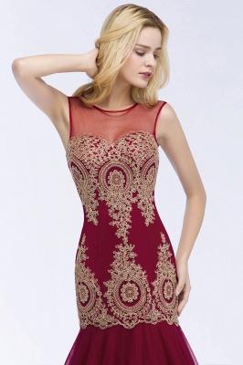 Mermaid Sleeveless Sheer Neckline Appliqued Burgundy Tulle Prom Dresses_7