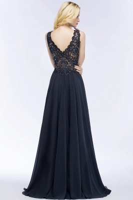 Cheap A-line V-neck Sleeveless Long Appliqued Chiffon Prom Dress with Crystals in Stock_4