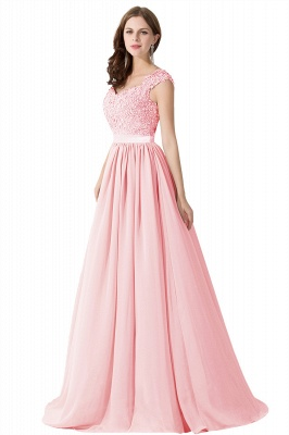 Cheap A-line V Neck Chiffon Bridesmaid Dress with Appliques in Stock_2