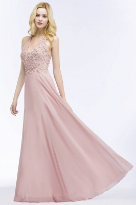 Cheap A-line V-neck Sleeveless Long Appliques Chiffon Bridesmaid Dress in Stock_11