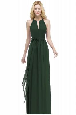 A-line Halter Floor Length Burgundy Bridesmaid Dress with Bow Sash_8
