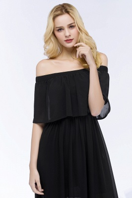 Cheap A-line Off-the-shoulder Floor Length Black Chiffon Bridesmaid Dress in Stock_11