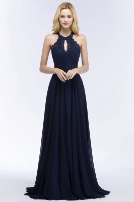 Cheap A-line Keyhole Neckline Halter Long Beading Prom Dress in Stock_3