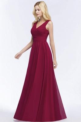 A-line  V-Neck Sleeveless Ruffles Floor-length Bridesmaid Dress_5
