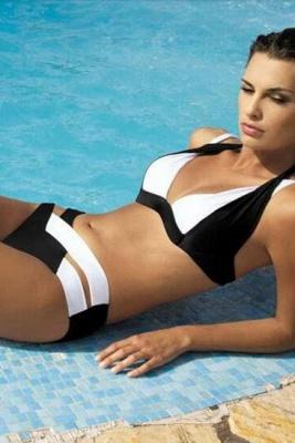Colorful Solid Sexy Bikinis Polyamide Halter Swimwear_6