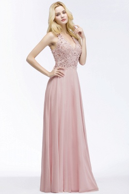 Cheap A-line V-neck Sleeveless Long Appliques Chiffon Bridesmaid Dress in Stock_5