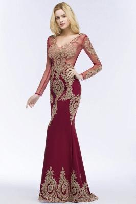 Mermaid V-neck Floor Length Long Sleeves Appliques Prom Dresses_5
