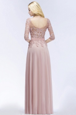 A-line  Appliques Jewel Half-Sleeves Floor-Length Bridesmaid Dresses with Sash_3