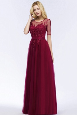 Cheap A-line Floor Length Appliques Tulle Bridesmaid Dress with Sleeves in Stock_7