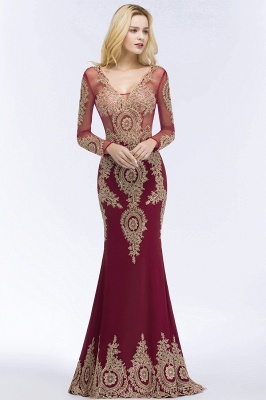 Mermaid V-neck Floor Length Long Sleeves Appliques Prom Dresses_3