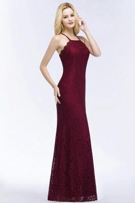 Mermaid Floor Length  Halter Lace Burgundy Bridesmaid Dresses_3